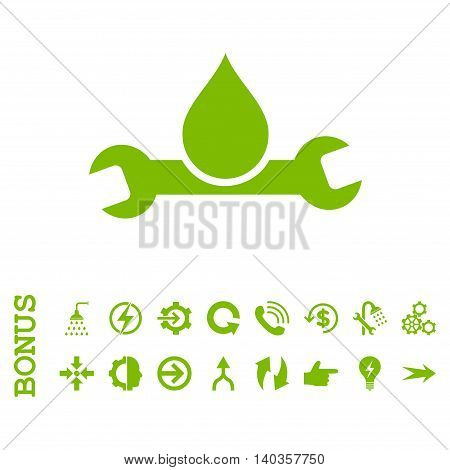 Plumbing vector icon. Image style is a flat pictogram symbol, eco green color, white background.