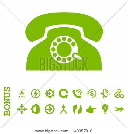 Pulse Phone vector icon. Image style is a flat pictogram symbol, eco green color, white background.