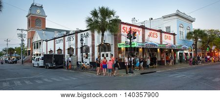KEY WEST FLORIDA USA - MAY 02 2016: Sloppy Joe's Bar in the twilight in Duval street in the center of Key West