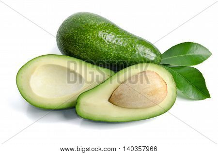 fresh avocado isolated on white background.Top view