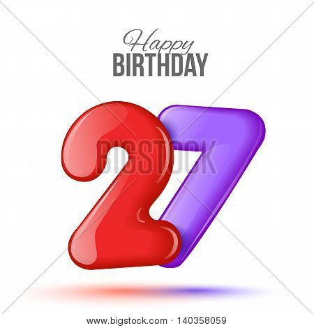 Sample greeting card to the 27 th anniversary. Air 3D red numbers from the figures. Invitation card to the party with balloons on a white background. Suitable for printing, web delivery, the jubilee