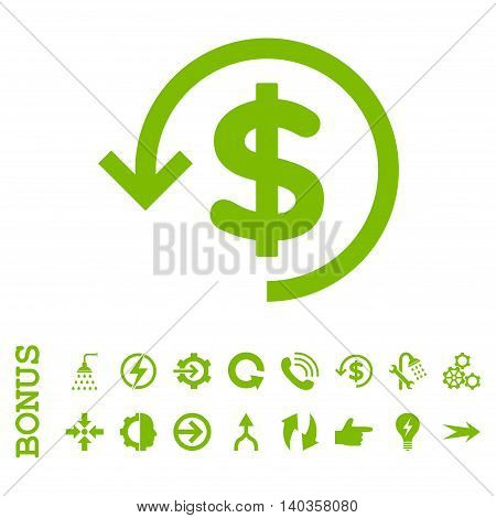 Refund vector icon. Image style is a flat pictogram symbol, eco green color, white background.