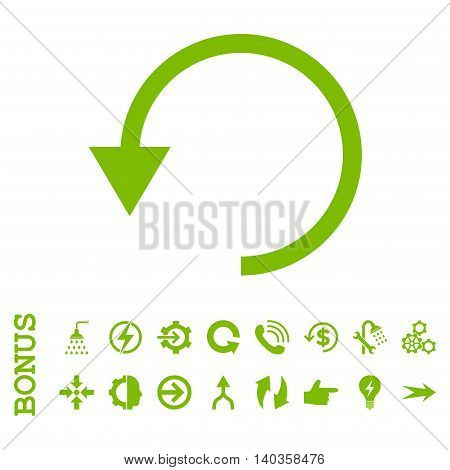 Rotate Ccw vector icon. Image style is a flat iconic symbol, eco green color, white background.