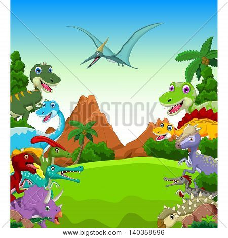 funny Dinosaur animal cartoon with landscape background