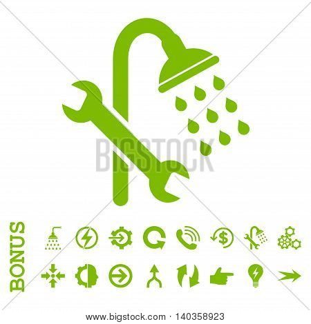 Shower Plumbing vector icon. Image style is a flat iconic symbol, eco green color, white background.