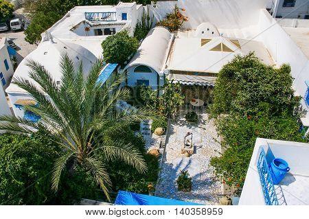 Traditional white and blue interior of house in Sidi Bou Said Tunisia.