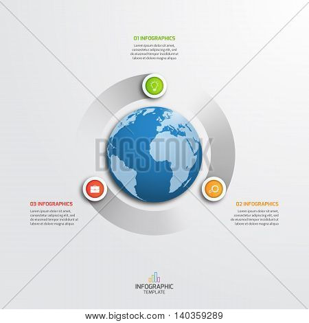 Circle Infographic Template With Globe With 3 Options. Business Concept. Vector Illustration.