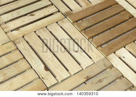 Wooden floor decking panels for balcony and garden