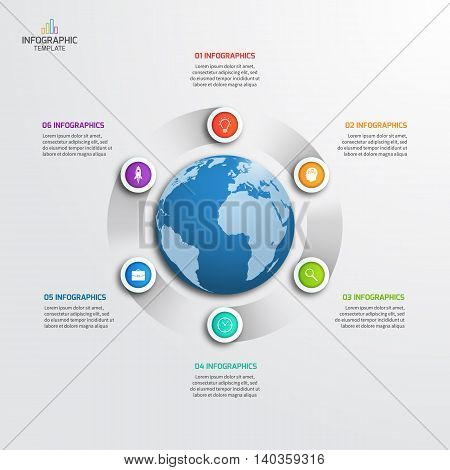 Circle Infographic Template With Globe With 6 Options. Business Concept. Vector Illustration.