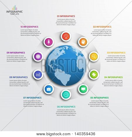 Circle Infographic Template With Globe With 10 Options. Business Concept. Vector Illustration.