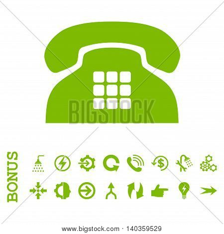 Tone Phone vector icon. Image style is a flat iconic symbol, eco green color, white background.