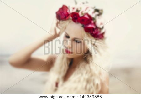 Retro vintage style portrait of beautiful blonde woman. Shoot with lens baby