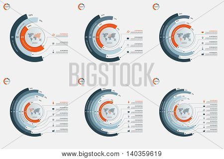 Set Of Circle Infographic Templates With 3-8 Options. Business Concept. Vector Illustration.