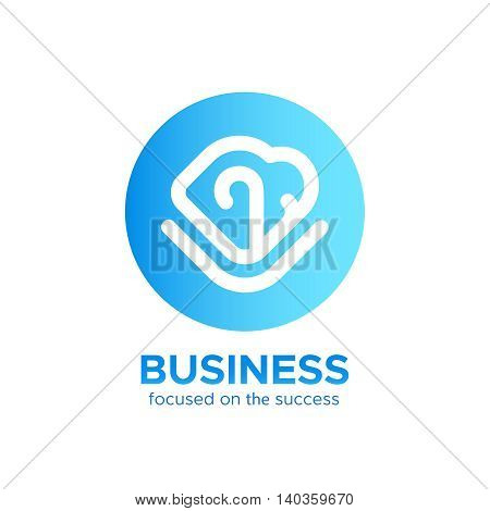 B2B logo vector design concept isolated on white background. Modern corporate identity for business marketing company. Abstract blue color circle web icon with monogram in mono line style and text
