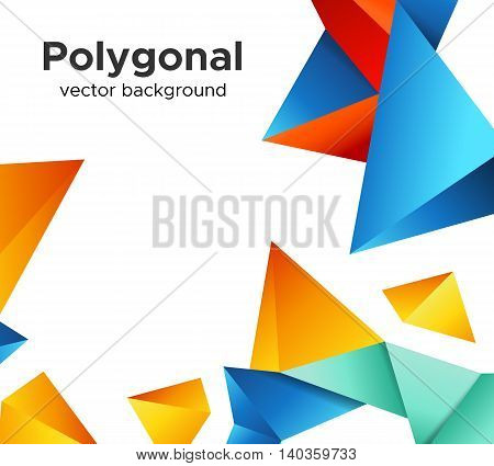Colorful vector background with vibrant blue-orange and red polygonal crystal shapes frame isolated on white background. Premium low poly geometric banner design concept