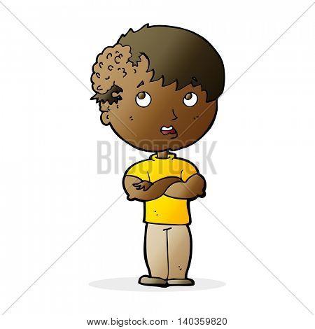 cartoon boy with growh on head