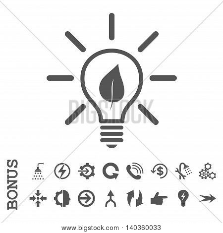 Eco Light Bulb vector icon. Image style is a flat pictogram symbol, gray color, white background.