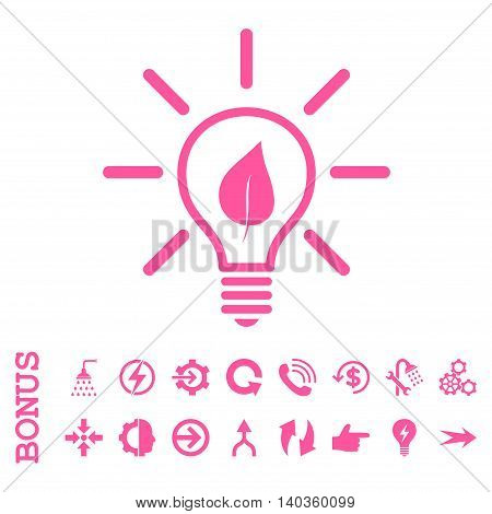 Eco Light Bulb vector icon. Image style is a flat pictogram symbol, pink color, white background.