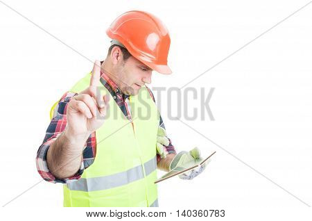 Wait A Minute Concept With Constructor Holding Tablet
