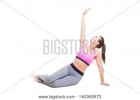 Female Trainer Preparing And Stretching For Workout