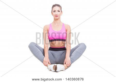 Fit Lady Wearing Sportswear Sitting And Stretching
