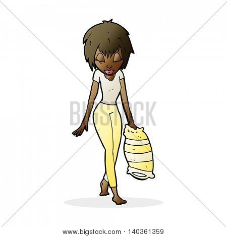 cartoon tired woman going to bed