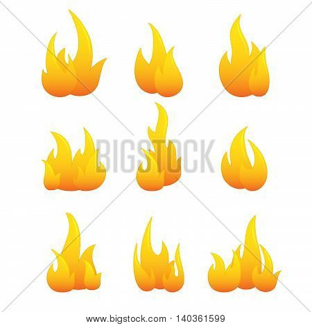 Set of fire flame icons, isolated on white background.