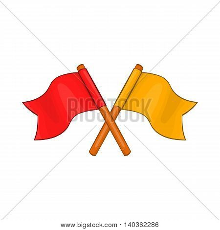 Two crossed flags icon in cartoon style on a white background