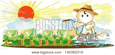 Gardeners use a hose to water the plants cartoon cute acting of working design and symbol