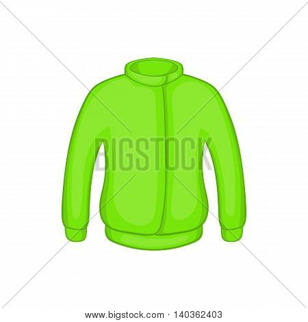 Green paintball jacket icon in cartoon style on a white background