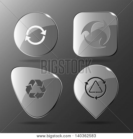4 images of recycle symbols. Glass buttons. Vector illustration icons set.