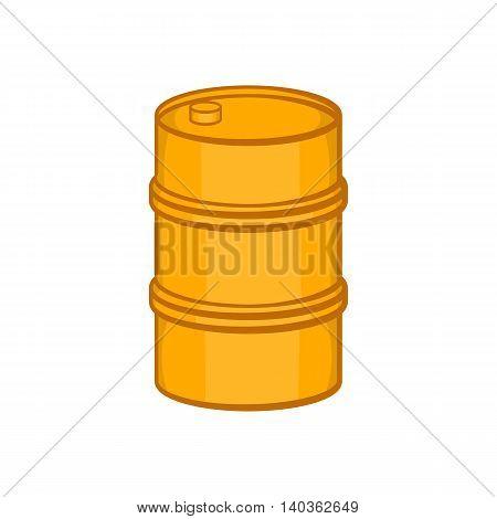 Orange barrel icon in cartoon style on a white background