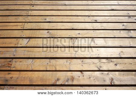Timber flooring of foot pavement. Natural wooden textured background.