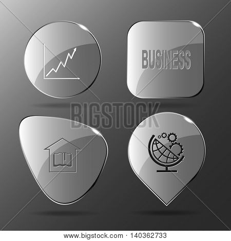 4 images: diagram, business, library, globe and gears. Business set. Glass buttons. Vector illustration icon.
