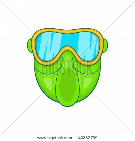 Green paintball mask icon in cartoon style on a white background