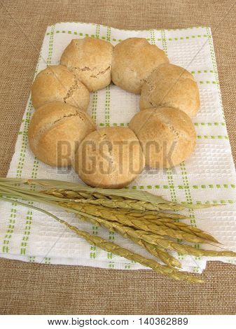 Homemade roll wreath baking with spelt flour