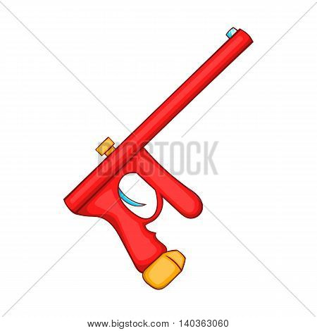 Red paintball gun icon in cartoon style on a white background