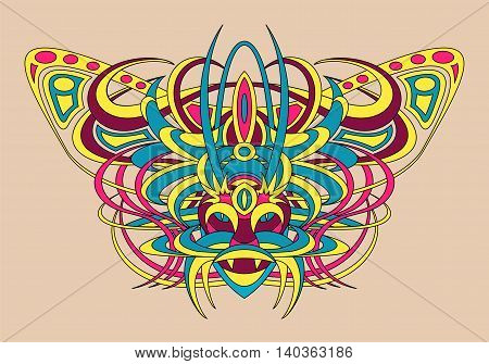 Patterned fantastic creature deity demon or an animal resembling a tiger with a headdress in the form of a butterfly. African indian tattoo design. Isolated vector collapsible composition.