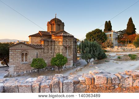 Greek church in the site of the ancient Agora in Athens.