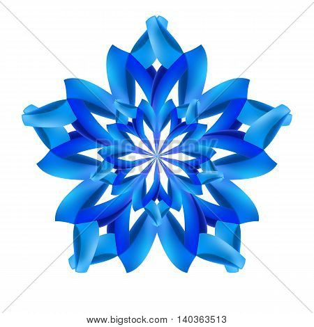 Ornate blue design element made of paper or ribbons