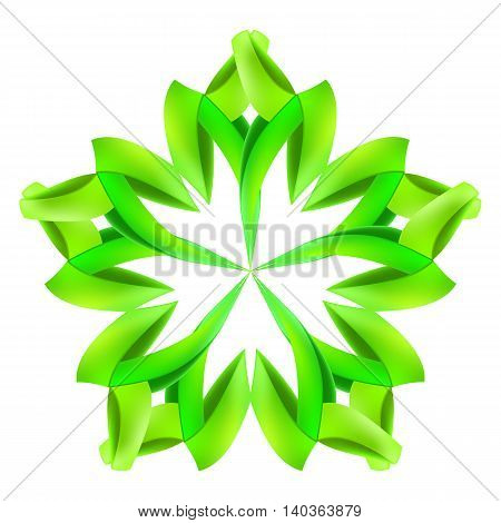 Abstract green pattern made of paper or ribbons