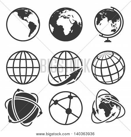 Globe earth vector icons set. Worldwide around globe and internet net on globe earth illustration