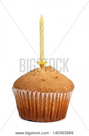 Fresh sweet cupcake with candle on white background