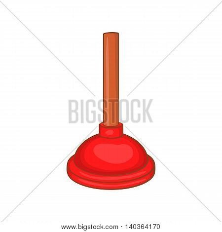 Red cup plunger icon in cartoon style on a white background