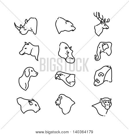 Animal heads vector thin line flat icons. Set of animal deer bear and lion. Illustration linear head animals