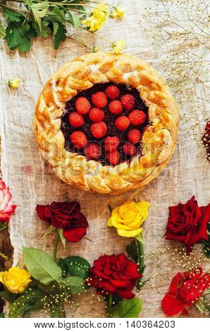 Tart With Fresh Berries.  Homemade  Tart Decorated With Berries. Food: Cranberry And Raspberry Upsid