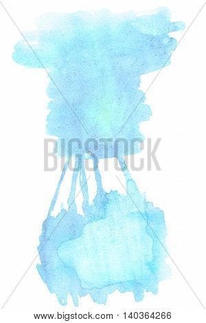 Watercolor spot - Sky blue watercolor abstract background. Painted texture with watercolour stains. Hand drawn template