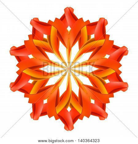 Ornate red and orange pattern made of paper or ribbons