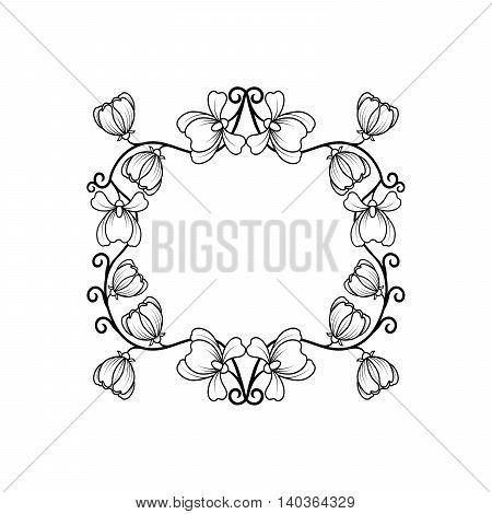 Black square frame with line art flowers for wedding design. Vector illustration