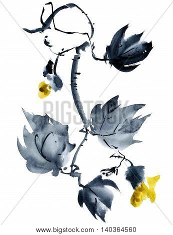 Yellow flower with bud. Oriental traditional painting in style sumi-e gohua.